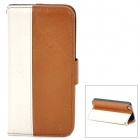 MODBI UC04APIP5 Protective PU Leather Case w/ Screen Protector for Iphone 5 - Yellow Brown + White