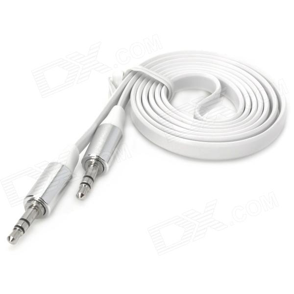 3.5mm Male to Male Aux Car Audio Flat Cable - White + Silver