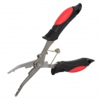 Stainless Steel Fishing Line Plier Scissor Tackle Hook - Red + Black + Silver (L)