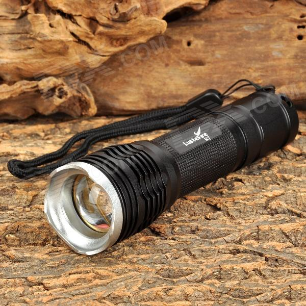 LusteFire K7 750lm 5-Mode White Zooming Flashlight w/ CREE XM-L U2 - Black + Silver (1 x 18650) convoy s5 860lm 2 group 3 5 mode white led flashlight w cree xm l2 u2 black 1 x 18650