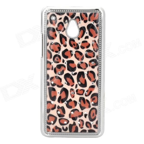 Stylish Crystal Inlaid Leopard Pattern Plastic Back Case for HTC M4 - Brown + Black + Silver cute popcorn pattern tpu back case for htc one mini m4 601e blue pink