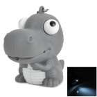 Cute Dinosaur Style LED White Flashlight Keychain - Grey + White (3 x AG10)