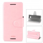 MOFI PR022 Stylish Flip-open Protective PU Leather Case w/ Auto Sleep + Holder for HTC 606W - Pink