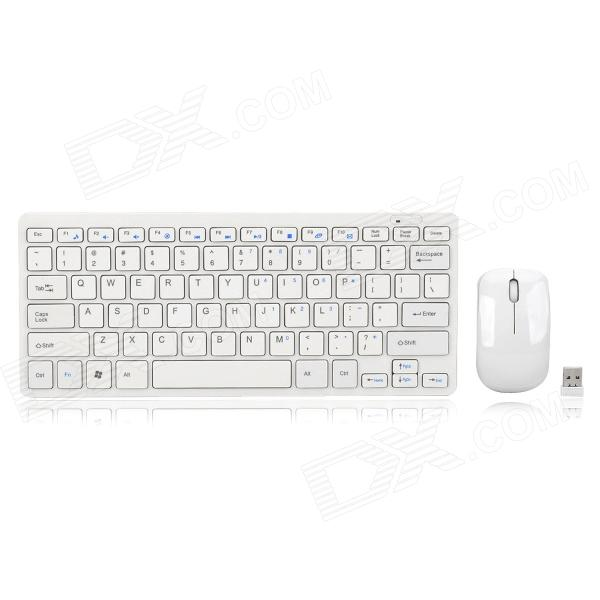 JK-903 Mini 2.4GHz 78-Key Wireless Keyboard + Mouse Set - White