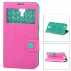 Baseus PU Leather Case w/ Display Window for Samsung Mega 6.3 i9200 / i9205 / i9208 - Deep Pink