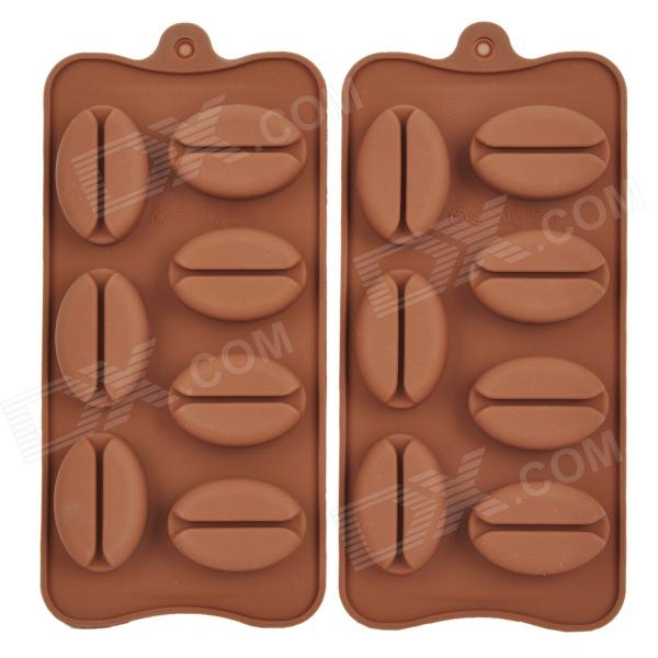 Coffee Bean Shape Silicone 7-Lattice Cake Maker DIY Mould Tray - Brown (2 PCS) silicone skeleton shaped ice cubes trays maker diy mould random color