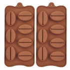 Coffee Bean Shape Silikon 7-Lattice Cake Maker DIY Mould Tray - Braun (2 PCS)