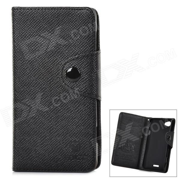Stylish Flip-open TPU Leather Case w/ Card Slot for Sony Xperia L / S36H - Black