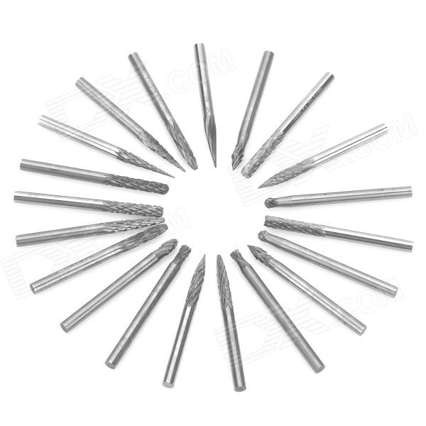 Tungsten Steel Grinding Head / Rotary File / Carver Set - Silver (20 PCS) stainless steel file binder clips set 12 pcs