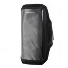 Sporty Protective TPU + Diving Fabric Bag w/ Arm Band for Samsung Galaxy Mega 6.3 i9200 - Black