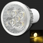GU10 5W 180lm 3500K 5-LED Warm White Light Spotlight - Silver + White (85~255V)