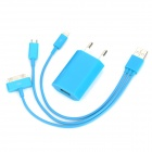 EU Plug Power Adapter + USB Male to Micro USB / 30-Pin / Lightning 8-Pin Data Cable Set for iPhone