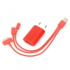 USB to 30-Pin / 8-Pin Lightning / Micro USB Data Charging Cable + EU Plug Adapter Set - Red