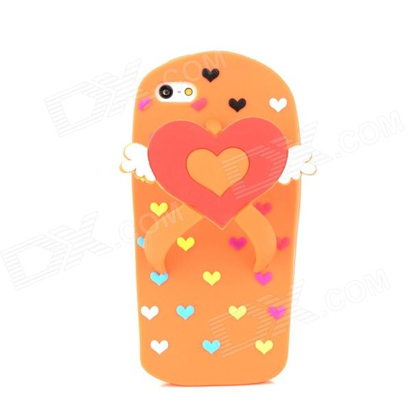 Love Heart Flip-Flops Style Protective Silicone Back Case for iPhone 5 - Orange