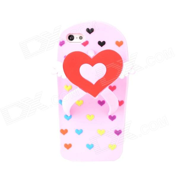 Love Heart Flip-Flops Style Protective Silicone Back Case for Iphone 5 - Pink