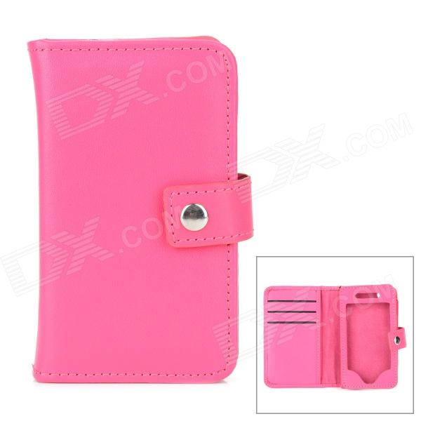 Protective Leather Case w/ Card Holder Slots for Iphone 4 / 4S - Deep Pink cartoon pattern matte protective abs back case for iphone 4 4s deep pink