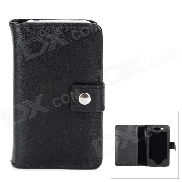 Protective Leather Case w/ Card Holder Slots for Iphone 4 / 4S - Black stylish top layer cow leather car key holder case bag w dual keyring black