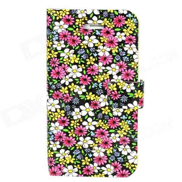Floral Style Protective Plastic Back Case for Iphone 4 / 4S - Colorful nillkin protective matte plastic back case w screen protector for iphone 6 4 7 golden