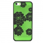 Peony Flower Style Protective Plastic Back Case for Iphone 5 - Green + Black