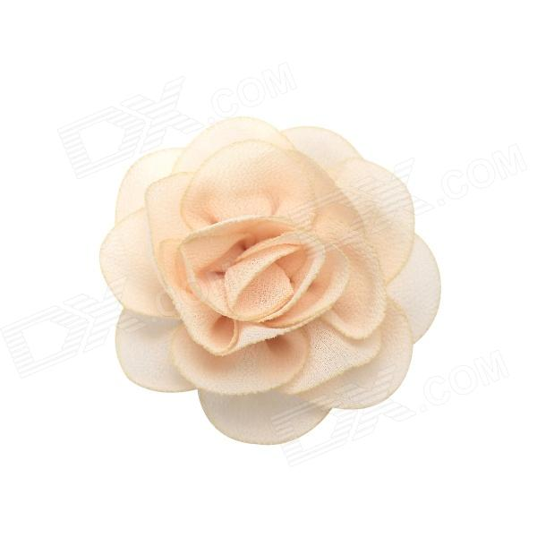 eQute COO14H15 Lovely Silk Fabric Brooches Headdress Flower - Beige + Black + Silver