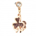 Stylish Clover Style Rhinestone + Zinc Alloy Anti-Dust Plug for Cell Phone - Purple + Golden (3.5MM)
