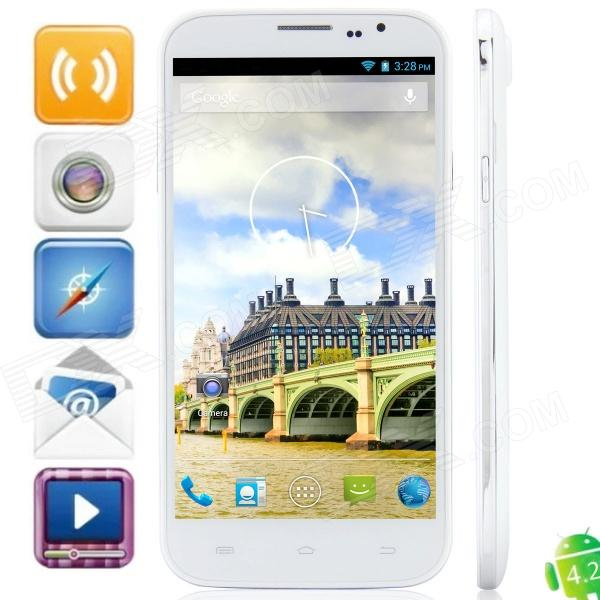 "Q6000(J6) MTK6589 Quad-Core Android 4.2.1 WCDMA Bar Phone w/ 6.0"" HD, 8GB ROM, FM and GPS - White"