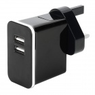 Detachable AC Charging Adapter Charger w/ Dual USB Output for Iphone / Ipad - Black (UK Plug)