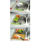 Foldable Stainless Steel Drain Rack - Silver + Orange (Large Size)