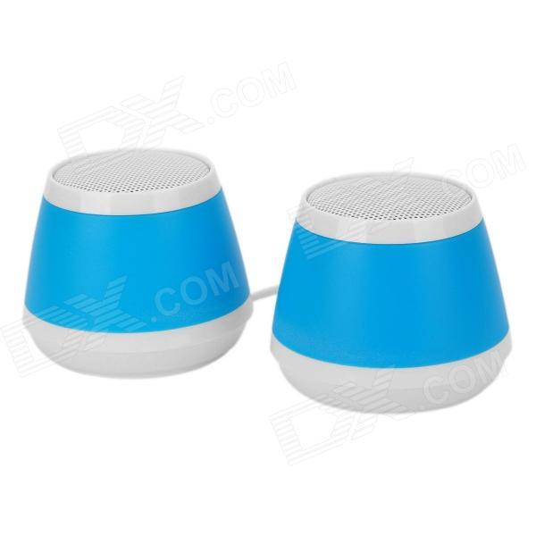 OJADE Mini USB 3W MP3 Music Dual-Speaker for Laptop Notebook - Blue + White