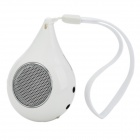 ZW Water Drop Style Mini MP3 Music Speaker w/ TF Card Slot / Hand Strap - White + Silver