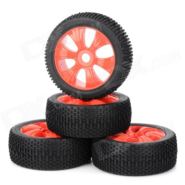 82R-801 Replacement Plastic + Rubber Wheel for 1/8 Scale Off-Road Cars - Black + Red (4 PCS) 1 10 rubber on road racing car model replacement tire black 4 pcs