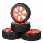 82R-801 Replacement Plastic + Rubber Wheel for 1/8 Scale Off-Road Cars - Black + Red (4 PCS)
