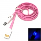 Smiley Face Lighting USB 2.0 to Micro USB Flat Cable for Samsung i9500 + More - Pinkish Purple (1m)