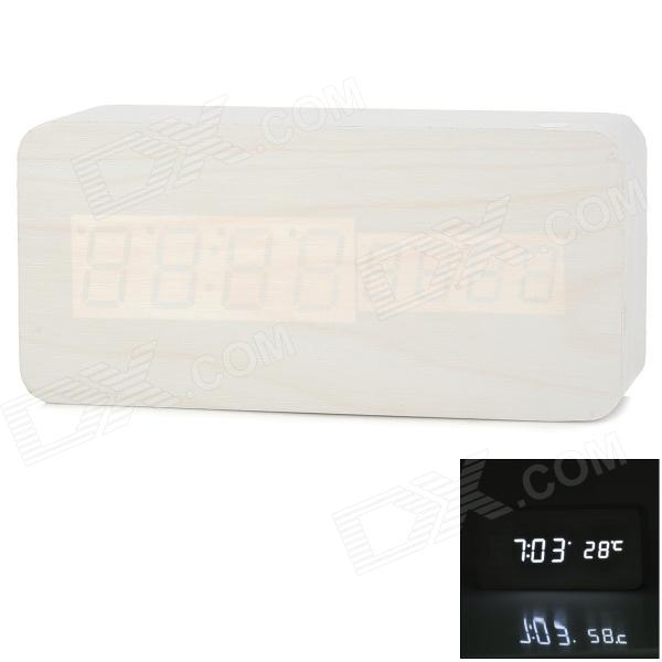 Wood Style Decorative Desktop LED Alarm Clock w/ Temperature - White