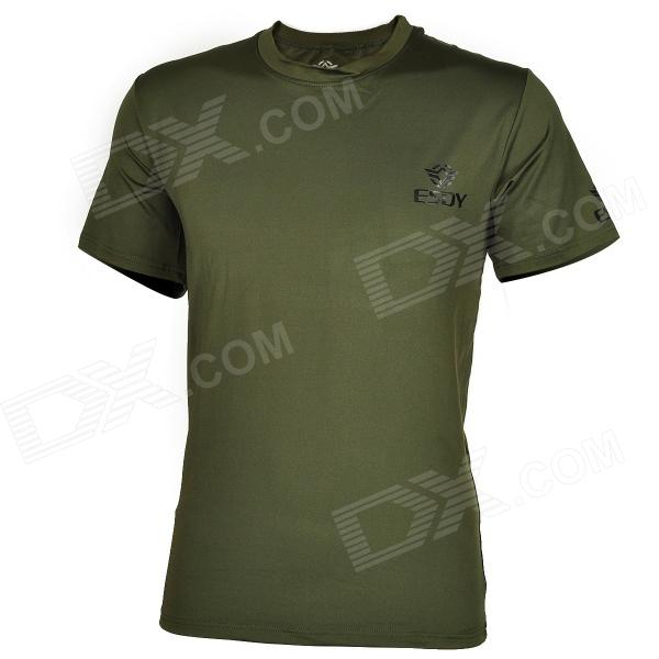 ESDY-8864 Men's Outdoor Sports Quick Drying Round Collar T-shirt - Army Green (Size XXL) esdy 611 men s outdoor sports climbing detachable quick drying polyester shirt camouflage xxl