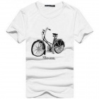 Bicycle Pattern Men's Pure Cotton Short Sleeves T-shirt - White (Size L)