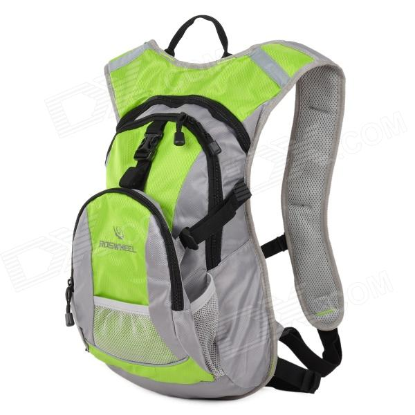 ROSWHEEL 15690 Outdoor Cycling Bicycle Nylon Backpack - Green + Grey