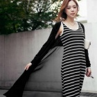 Women's Gauze Long Knit Cardigan - Black