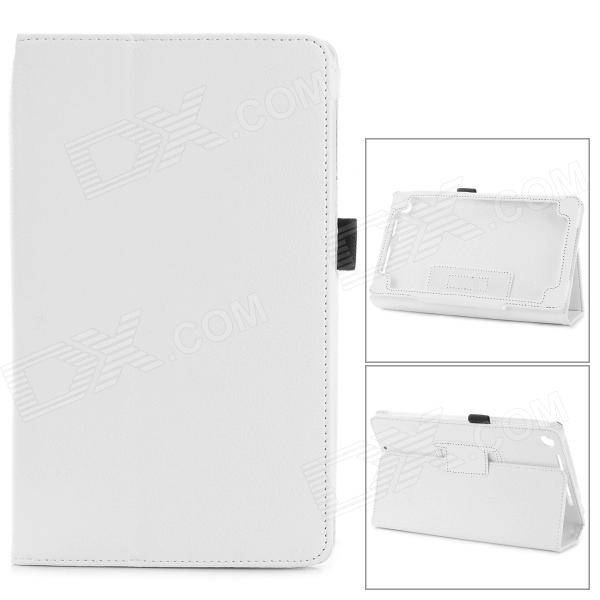 Lichee Pattern Protective PU Leather Case Cover Stand for Google Nexus 7 II - White
