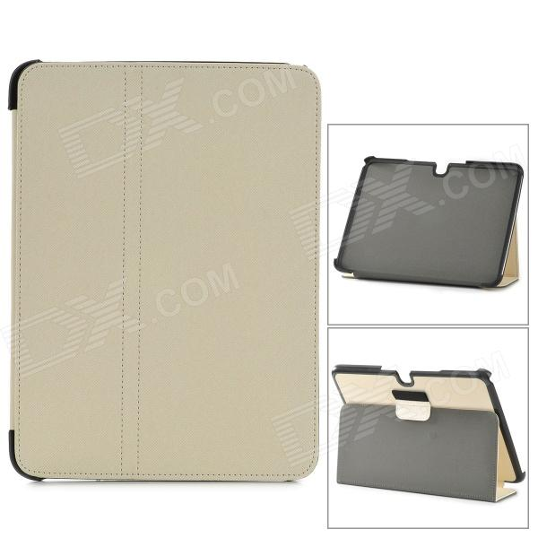 Protective PU Leather Slim Stand Smar Case for Samsung Galaxy Tab3 P5200  - Beige + Black floveme luxury flip stand case for samsung galaxy tab3 10 1 p5200 tab3 pu leather protective cover pouch bag black for tab 3