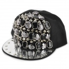 Fashion Acrylic Rivet Studded Canvase Hat Cap - Black  +Silver