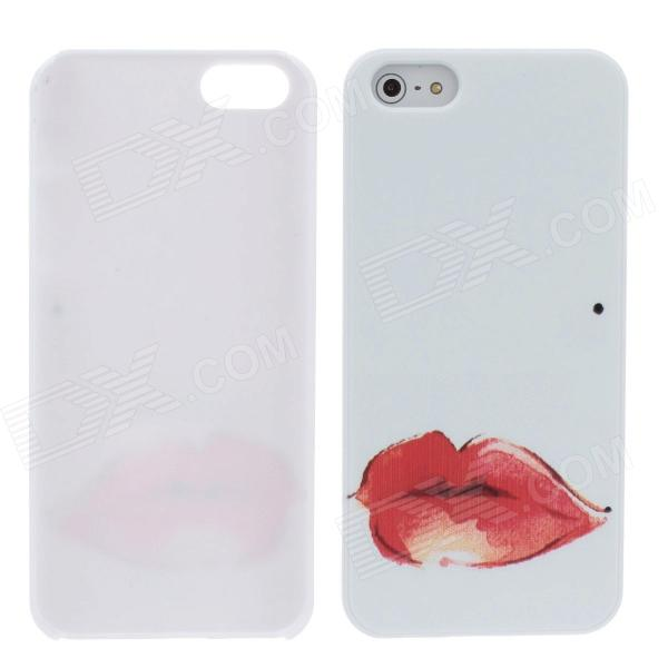 The Sexy Lip Style Protective Plastic Back Case for Iphone 5 - White + Red