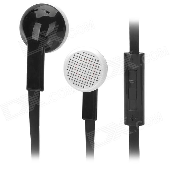 SMZ-620 Stylish Earphone w/ Microphone / Flat Cable for Samsung / Android Cell Phone - Black + White