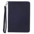 Stylish Lichee Pattern Protective PU Leather Case Cover Stand w/ Strap for Ipad MINI - Black
