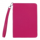 Stylish Lichee Pattern Protective PU Leather Case Cover Stand w/ Strap for Ipad MINI - Deep Pink