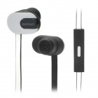 SONUN SN-iP2 Stylish In-Ear Earphone w/ Microphone / Flat Cable for Cell Phone - Black + White