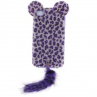 Sexy Leopard Pattern Plush Back Case w/ Cute Lugs & Tail for Iphone 4 / 4S - Purple + Grey White