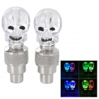 Skull Style Car Tire Valve Colorful Light Flashing Lamps - Silver + Transparent (3 x L1130)