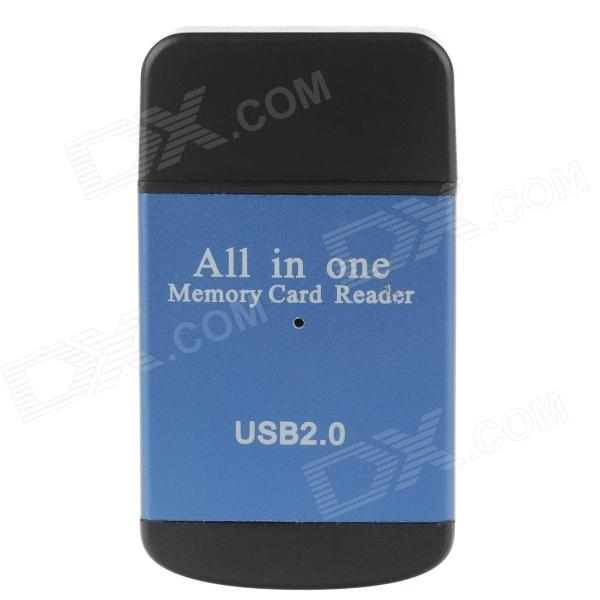 Compact All-in-One USB 2.0 SD / MMC / RS-MMC / Mini SD / TF / M2 Memory Card Reader - Blue + Black