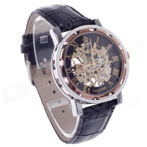 ORKINA KC023 Double-Sided Hollow Automatic Mechanical Men's Wrist Watch - Black + Silver + Coppery